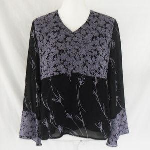 Style & Co Black & Lavender Floral Blouse (Size 4)